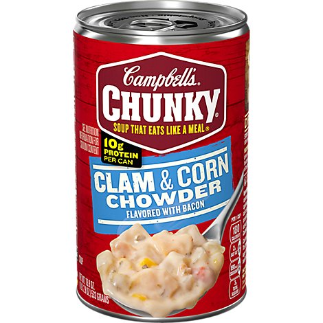 Campbells Chunky Soup Chowder Clam & Corn With Bacon - 18.8 Oz