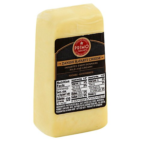 Primo Taglio Pre-Sliced Plain Havarti Cheese - 0.50 Lb