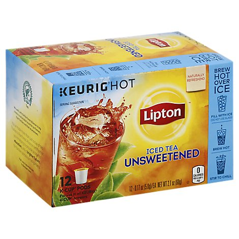 Lipton Keurig Hot Iced Tea Unsweetened K-Cup Pods - 12 Count