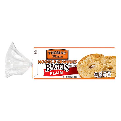 Thomas Nooks & Crannies Bagels Plain - 4 Count