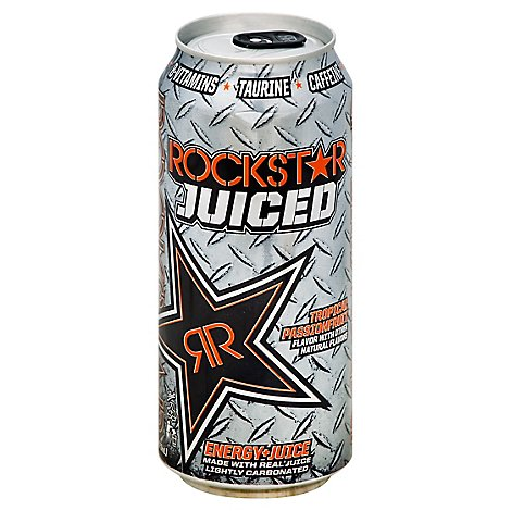 Rockstar Energy Drink Juiced Tropical Passionfruit Flavor Energy + Juice - 16 Fl. Oz.