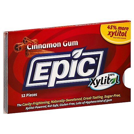 Epic Dental Xylitol Cinnamon Gum - 12 Count