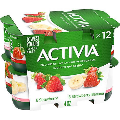 Activia Probiotic Yogurt Lowfat Strawberry & Strawberry Banana Variety Pack - 12-4 Oz