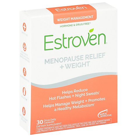 Estroven Dietary Supplement Menopause Relief Weight Management Caplets - 30 Count