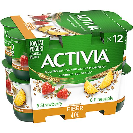 Dannon Activia Fiber Yogurt Strawberry Pineapple - 12-4 Oz