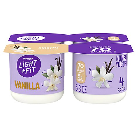 Dannon Light + Fit Yogurt Nonfat Gluten Free Vibrant Vanilla - 4-5.3 Oz