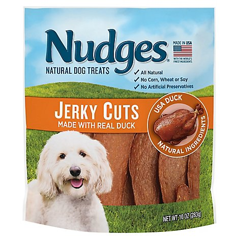 Nudges Dog Treats Jerky Cuts Natural Ingredients Real Duck Pouch - 10 Oz