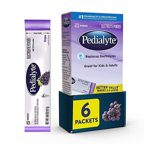 Pedialyte Electrolyte Powder Grape - 6-0.6 Oz