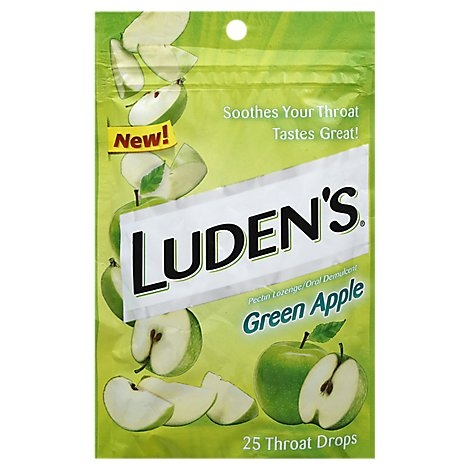 Ludens Pectin Lozenge Throat Drops Sugar Free Green Apple - 25 Count