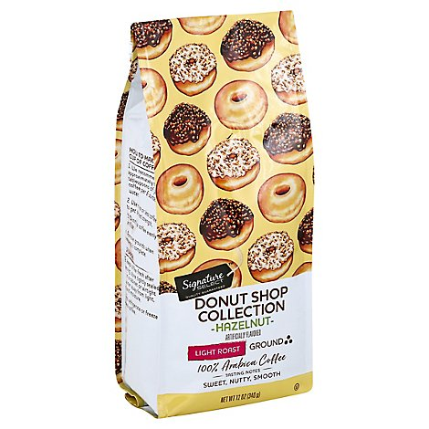 Signature SELECT Coffee Donut Shop Collection Coffee Ground Light Roast Hazelnut - 12 Oz