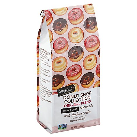 Signature SELECT Coffee Donut Shop Collection Coffee Ground Dark Roast Original Blend - 12 Oz