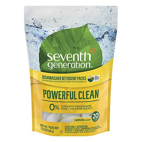 Seventh Generation Dishwasher Detergent Packs Power Clean Lemon Scent - 20 Count