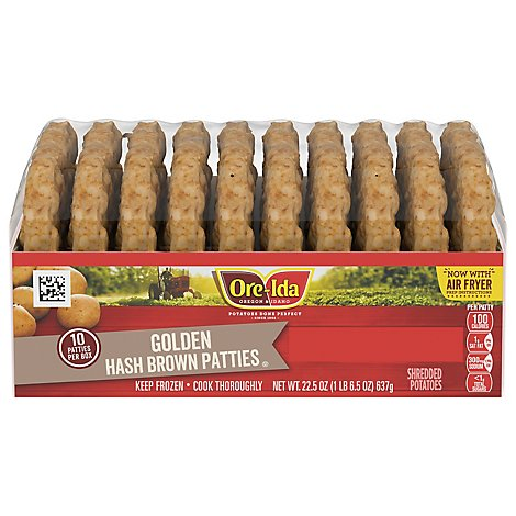 Ore-Ida Potatoes Hash Brown Shredded Patties Golden 10 Count - 22.5 Oz