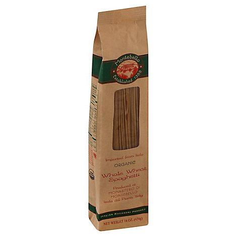 Montabello Pasta Organic Spaghetti Whole Wheat Bag - 16 Oz