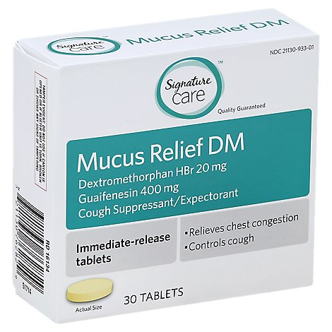 Signature Care Mucus Relief DM Immediate-Release Tablets - 30 Count