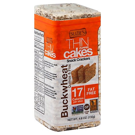 Suzies Crackers Puffed Cakes Thin Buckwheat Quinoa & Flax - 4.6 Oz