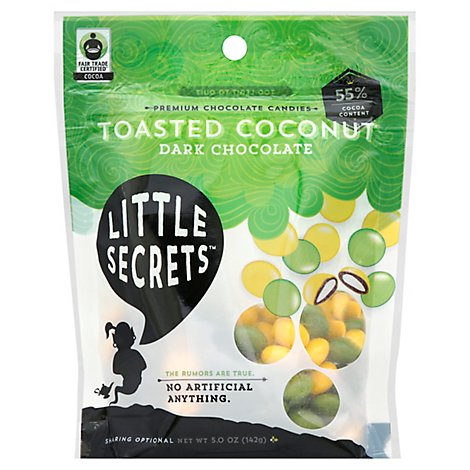 Little Secrets Chocolate Candies Premium Dark Chocolate Toasted Coconut - 5 Oz