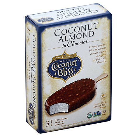 Coconut Bliss Organic Frozen Dessert Non-Dairy Bars Coconut Almond In Chocolate 3 Count - 9 Oz