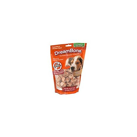 DreamBone Dog Chews No Rawhide Vegetable & Chicken Mini Sweet Potato Pouch 24 Count - 14 Oz