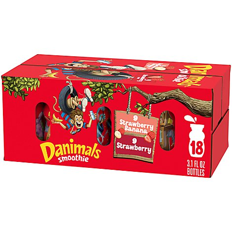 Danimals Smoothie Strawberry & Strawberry Banana - 18-3.1 Oz