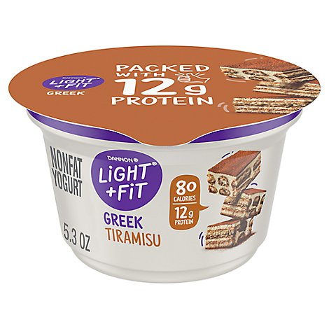 Dannon Light + Fit Yogurt Greek Nonfat Gluten Free Tiramisu - 5.3 Oz