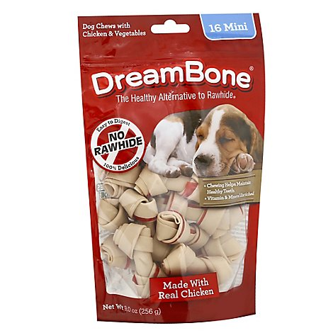 DreamBone Dog Chews Vegetable & Chicken Mini 16 Count - 9 Oz