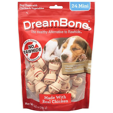 DreamBone Dog Chews No Rawhide Vegetable & Chicken Mini Pouch 24 Count - 14 Oz