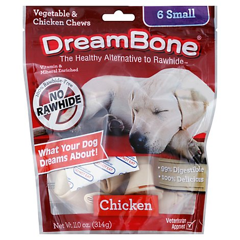 DreamBone Dog Chews No Rawhide Vegetable & Chicken Small Pouch 6 Count - 11 Oz
