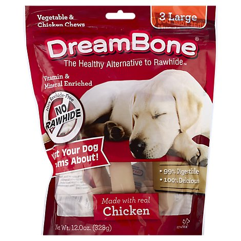 DreamBone Dog Chews No Rawhide Vegetable & Chicken Large Pouch 3 Count - 12 Oz