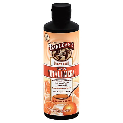 Barleans Orange Cream Total  Omega Swirl - 16 Oz
