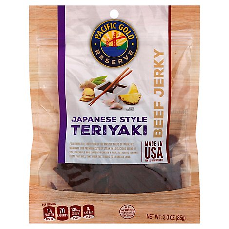 Pacific Gold Beef Jerky Japanese Style Teriyaki - 3 Oz