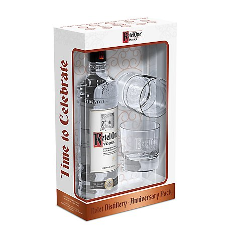 Ketel One Vodka 80 Proof With 2 Glasses Holiday - 750 Ml