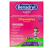 Benadryl Childrens Allergy Tablets 12.5mg Chewable Grape! - 20 Count