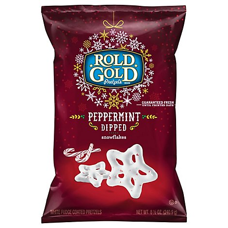 ROLD GOLD Pretzels Peppermint Dipped Snowflakes - 8.5 Oz