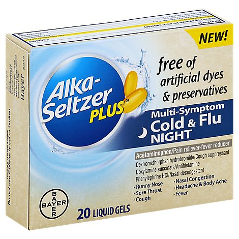 Alka Seltzer Cold & Flu Night - 20 Count
