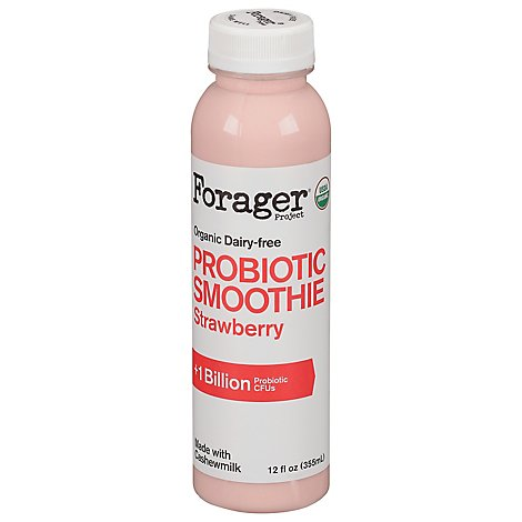 Forager Project Organic Plant Shake Probiotic Dairy Free Strawberry - 12 Fl. Oz.