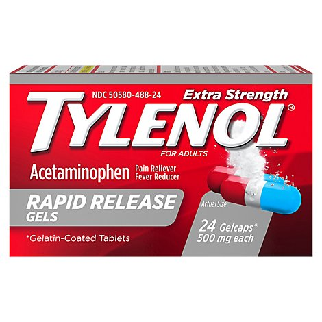 TYLENOL Pain Reliever/Fever Reducer Gelcaps Extra Strength 500 mg Rapid Release - 24 Count