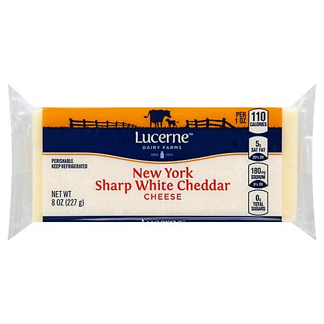 Lucerne Cheese Chunk Cheddar White New York Sharp - 8 Oz