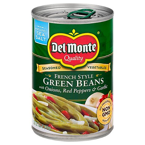 Del Monte Green Beans French Style with Onion Red Pepper & Garlic - 14.5 Oz