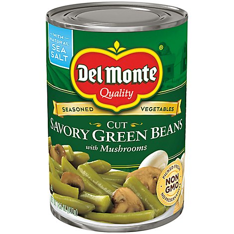Del Monte Beans Green Savory Cut with Mushrooms - 14.5 Oz