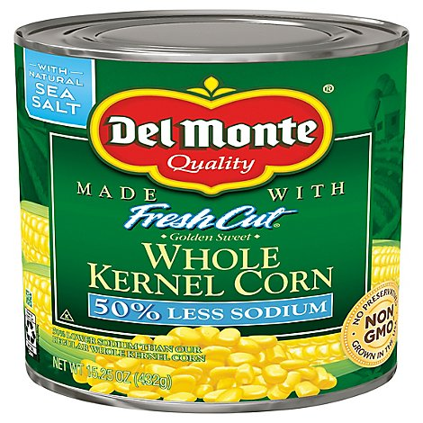 Del Monte Fresh Cut Corn Whole Kernel Golden Sweet 50% Less Sodium - 15.25 Oz