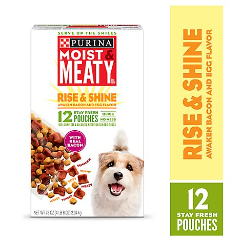 Moist & Meaty Dog Food Dry Rise And Shine Bacon & Egg 12 Count - 72 Oz