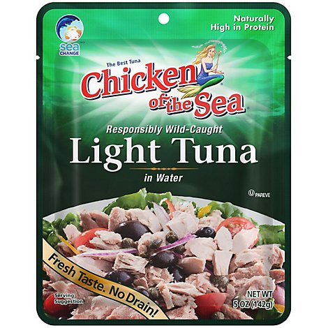 Chicken of the Sea Light Tuna in Water Wild Caught Chunk Style Pouch - 5 Oz