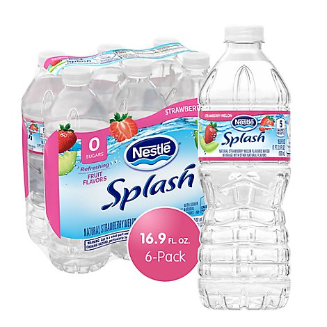 Nestle Splash Water Beverage Natural Strawberry Melon Flavor - 6-16.9 Fl. Oz.