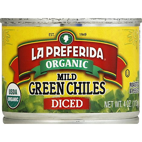 La Preferida Organic Green Chiles Diced Mild Can - 4 Oz