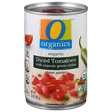 O Organics Organic Tomatoes Diced In Water With Organic Green Chiles - 10 Oz