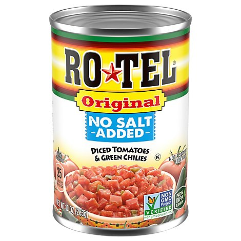 RO-TEL Diced Tomatoes & Green Chilies No Salt Added - 10 Oz