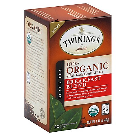 Twinings of London Black Tea Organic Breakfast Blend - 20 Count