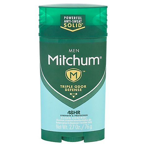 Mitchum Anti-Perspirant & Deodorant For Men Invisible Solid Advanced Clean Control - 2.7 Oz