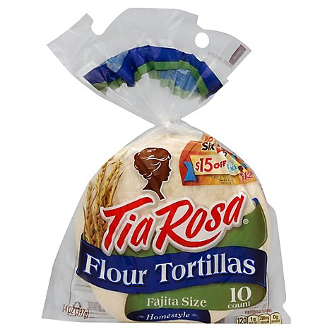Tia Rosa Tortillas Flour Fajita Size Pack 10 Count - 14 Oz